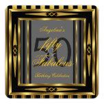 Fabulous 50 Art Deco Black Grey Gold Stripe 13 Cm X 13 Cm Square Invitation Card