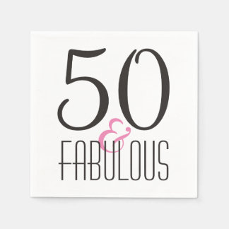 Fabulous 50 Birthday Party | Black Pink Diva Paper Napkin