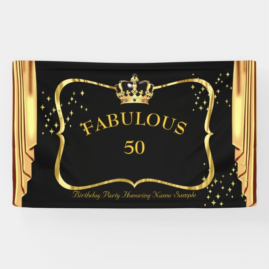 fabulous 50 Black Gold Crown Drapes Birthday party