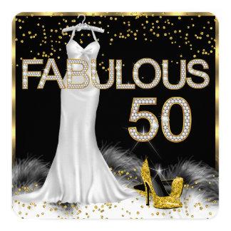 Fabulous 50 Black Gold White Birthday Party Card