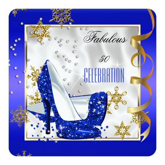Fabulous 50 Blue Gold White Heels Birthday Party