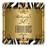 Fabulous 50 Bronze Gold Black White Zebra 13 Cm X 13 Cm Square Invitation Card