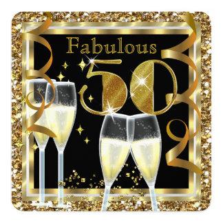 Fabulous 50 Champagne White Gold Birthday Party 13 Cm X 13 Cm Square Invitation Card