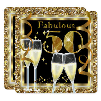 Fabulous 50 Champagne White Gold Birthday Party Card