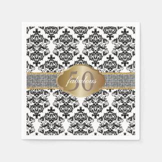 Fabulous 50 Classic Damask Silver Glitter Belt Paper Serviettes