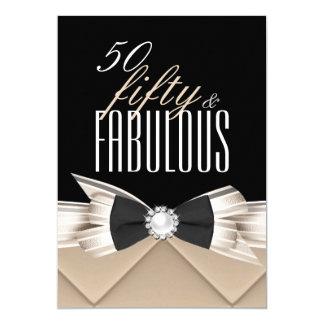 Fabulous 50 Coffee Beige Black Birthday Party 13 Cm X 18 Cm Invitation Card