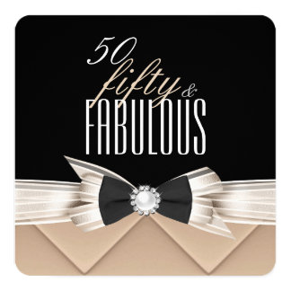 Fabulous 50 Coffee Beige Black Birthday Party 5.25x5.25 Square Paper Invitation Card