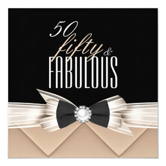 Fabulous 50 Coffee Beige Black Birthday Party Personalized Invite
