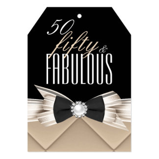 Fabulous 50 Coffee Beige Black Birthday Party 5x7 Paper Invitation Card