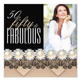 Fabulous 50 Coffee Beige Pearl Photo Birthday 3 5.25x5.25 Square Paper Invitation Card