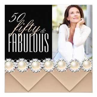 Fabulous 50 Coffee Beige Pearl Photo Birthday 4 Personalized Invitation Card
