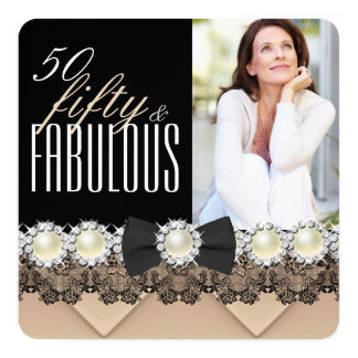 Fabulous 50 Coffee Beige Pearl Photo Birthday 5.25x5.25 Square Paper Invitation Card