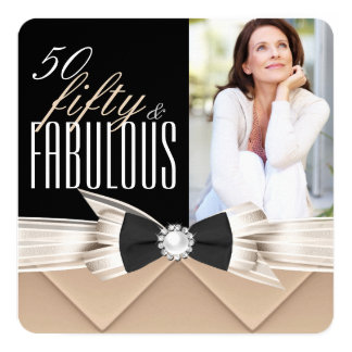 Fabulous 50 Coffee Beige Photo Birthday Party 5.25x5.25 Square Paper Invitation Card