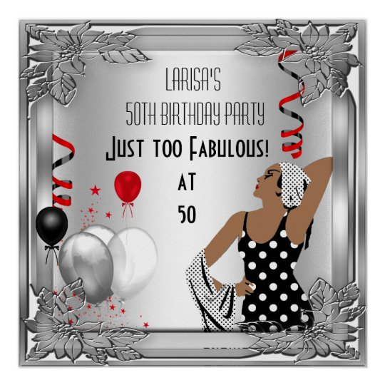 Fabulous 50 Diva Art Deco Birthday Banner Red
