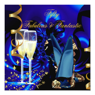 Fabulous 50 Fantastic Abstract Blue Gold Birthday 5.25x5.25 Square Paper Invitation Card