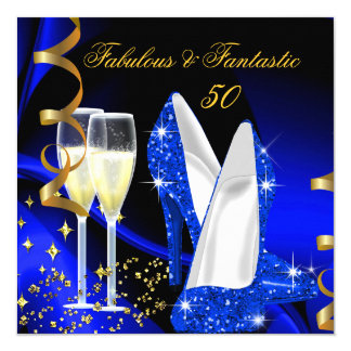 Fabulous 50 Fantastic Abstract Blue Gold Party 13 Cm X 13 Cm Square Invitation Card