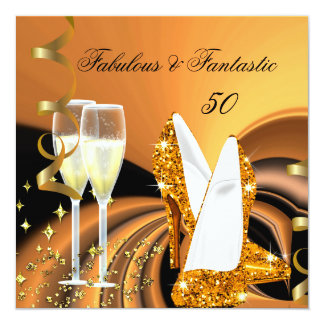 Fabulous 50 Fantastic Abstract Gold Birthday Party 5.25x5.25 Square Paper Invitation Card
