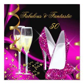 Fabulous 50 Fantastic Abstract Pink Gold Birthday 5.25x5.25 Square Paper Invitation Card