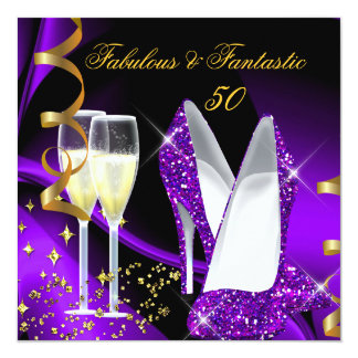 Fabulous 50 Fantastic Abstract Purple Gold Party 5.25x5.25 Square Paper Invitation Card