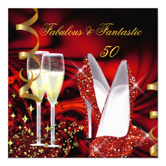 Fabulous 50 Fantastic Abstract Red Gold Birthday 13 Cm X 13 Cm Square Invitation Card