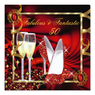 Fabulous 50 Fantastic Abstract Red Gold Birthday 2 5.25x5.25 Square Paper Invitation Card