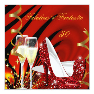 Fabulous 50 Fantastic Abstract Red Gold Birthday 3 5.25x5.25 Square Paper Invitation Card