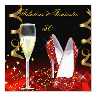 Fabulous 50 Fantastic Abstract Red Gold Party 13 Cm X 13 Cm Square Invitation Card