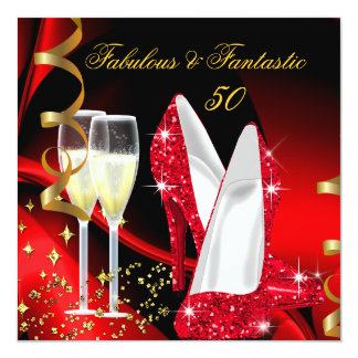 Fabulous 50 Fantastic Abstract Red Gold Party 5.25x5.25 Square Paper Invitation Card