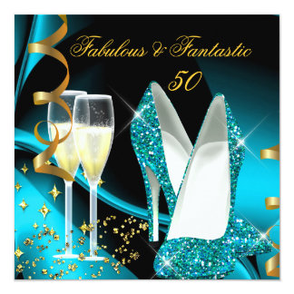 Fabulous 50 Fantastic Abstract Teal Blue Gold 5.25x5.25 Square Paper Invitation Card