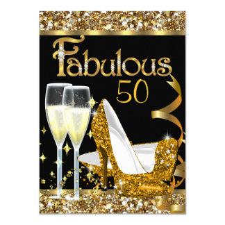 Fabulous 50 Fantastic Birthday Party Gold Black 11 Cm X 16 Cm Invitation Card