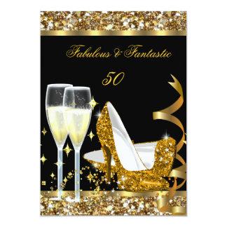 "Fabulous 50 Fantastic Birthday Party Gold Black 5"" X 7"" Invitation Card"