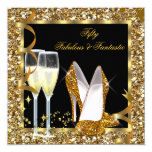 Fabulous 50 & Fantastic Black Gold Birthday Party 13 Cm X 13 Cm Square Invitation Card