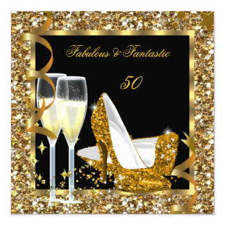 Fabulous 50 Fantastic Gold Black Birthday Party 13 Cm X 13 Cm Square Invitation Card