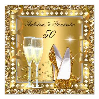 Fabulous 50 & Fantastic Gold Glam Silver Birthday 13 Cm X 13 Cm Square Invitation Card