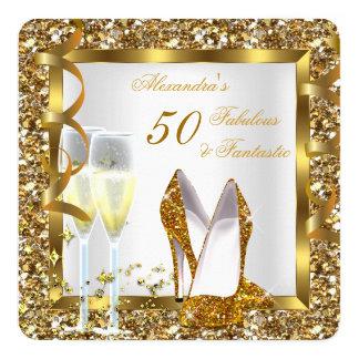 Fabulous 50 & Fantastic Gold Heels Birthday Party 13 Cm X 13 Cm Square Invitation Card