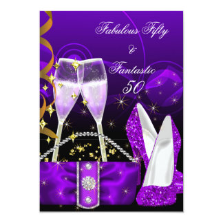 Fabulous 50 Fantastic Purple Glitter High Heels 13 Cm X 18 Cm Invitation Card