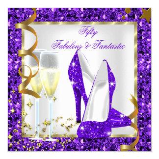 Fabulous 50 Fantastic Purple White Gold Birthday 13 Cm X 13 Cm Square Invitation Card