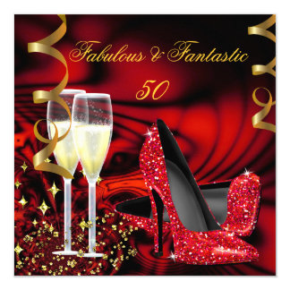 Fabulous 50 Fantastic Red Gold Abstract Birthday 13 Cm X 13 Cm Square Invitation Card