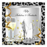 Fabulous 50 & Fantastic Silver Leopard Birthday Invites