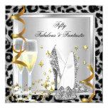 Fabulous 50 & Fantastic Silver Leopard Birthday 13 Cm X 13 Cm Square Invitation Card
