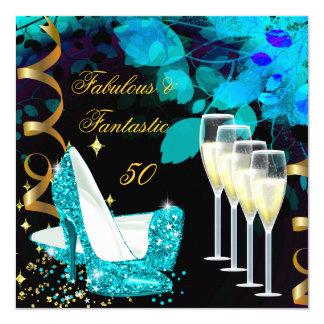 Fabulous 50 Fantastic Teal Gold Champagne Birthday 13 Cm X 13 Cm Square Invitation Card
