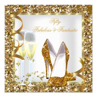 Fabulous 50 & Fantastic White Gold Birthday Party 13 Cm X 13 Cm Square Invitation Card