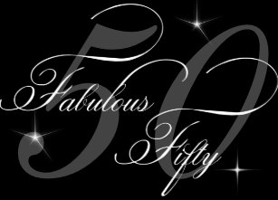 Fabulous 50 Fifty Black White 50th Birthday Party Invitation