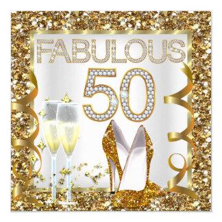 Fabulous 50 Glitter White Gold Birthday Party 13 Cm X 13 Cm Square Invitation Card