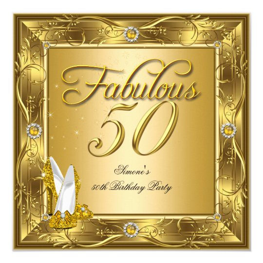 Fabulous 50 Gold High Heels Birthday Party Card