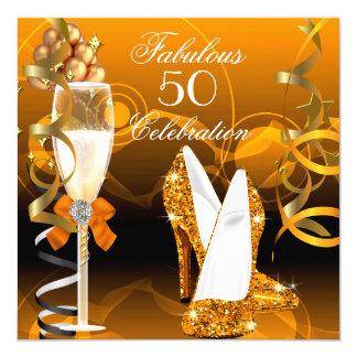 Fabulous 50 Gold Orange Birthday Party 13 Cm X 13 Cm Square Invitation Card