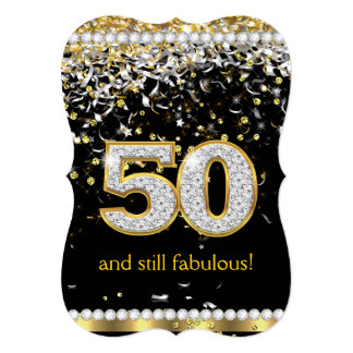 Fabulous 50 Gold Silver Streamers 50th Party 13 Cm X 18 Cm Invitation Card