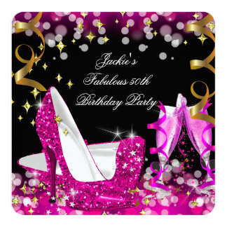 Fabulous 50 Hot Pink Glitter High Heel Birthday 2 13 Cm X 13 Cm Square Invitation Card