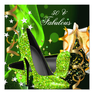 Fabulous 50 Lime Green Gold Heels Birthday Party 13 Cm X 13 Cm Square Invitation Card