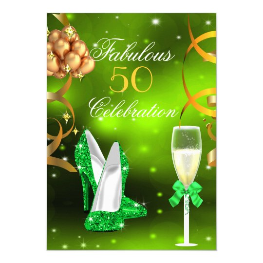 Fabulous 50 Lime Green Gold Heels Champagne Party